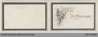 Funeral Card, Martha L. Menzie