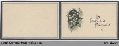 Funeral Card, David R. Ronald