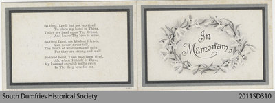 Funeral Card, Elizabeth Sickle
