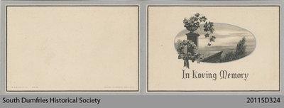 Funeral Card, Elizabeth Hill Gurney