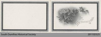 Funeral Card, Jane Badenoch
