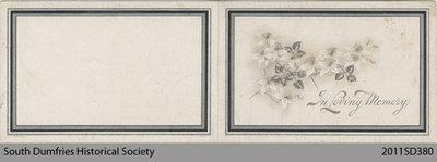 Funeral Card, Margaretta Weir