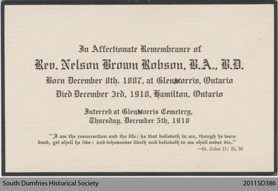 Funeral Card, Rev. Nelson Brown Robson