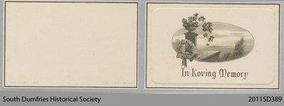 Funeral Card, Alexander Weir
