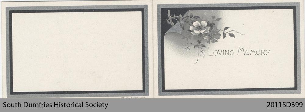 Funeral Card, Margaret Inglis