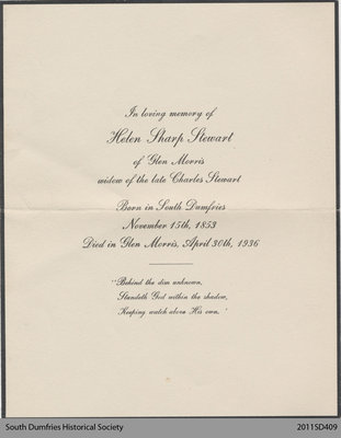 Funeral Card, Helen Sharp Stewart