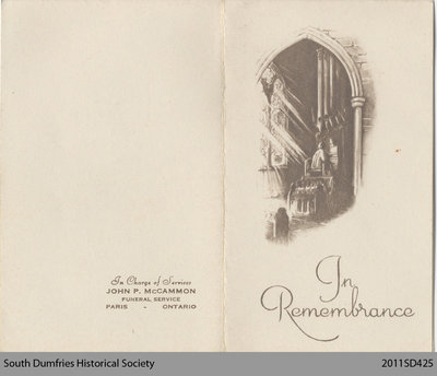 Funeral Card, Agnes Reid Emerson