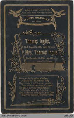 Funeral Card, Mr. and Mrs. Thomas Inglis