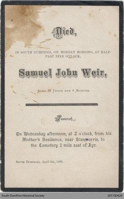 Funeral Card, Samuel John Weir