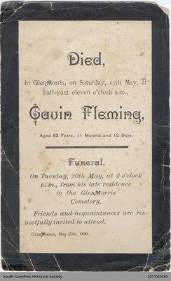 Funeral Card, Gavin Fleming