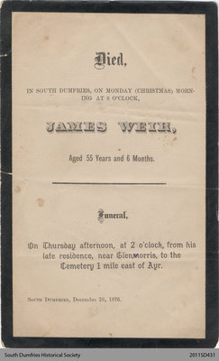 Funeral Card, James Weir
