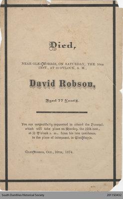 Funeral Card, David Robson