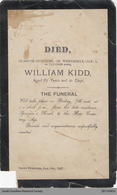 Funeral Card, William Kidd
