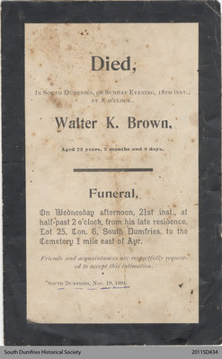 Funeral Card, Walter K. Brown