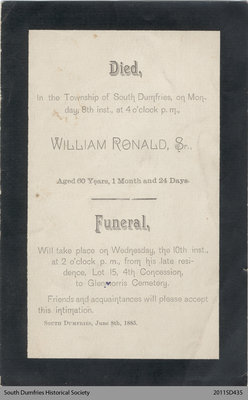 Funeral Card, William Ronald, Sr.