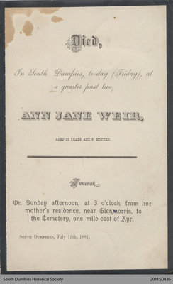 Funeral Card, Ann Jane Weir