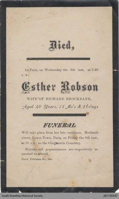 Funeral Card, Esther Robson