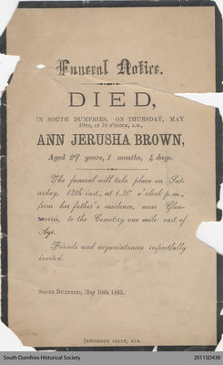 Funeral Card, Ann Jerusha Brown