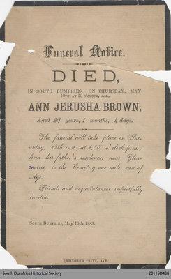 Funeral Card, Ann Jerusha Brown