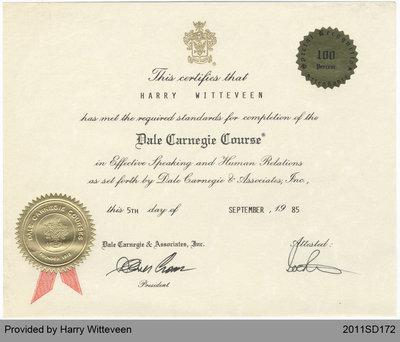 Harry Witteveen's Certificate