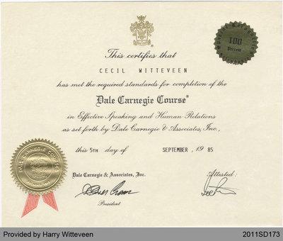 Cecil Witteveen's Certificate