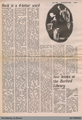 Back is a 4-letter Word by Mel Robertson, from The Burford Times