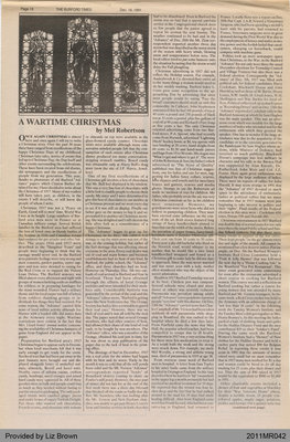 A Wartime Christmas by Mel Robertson, from The Burford Times