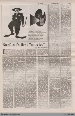 "Burford's First ""Movies"" by Mel Robertson, from The Burford Times"