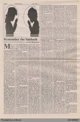 Remember the Sabbath by Mel Robertson, from the Burford Times
