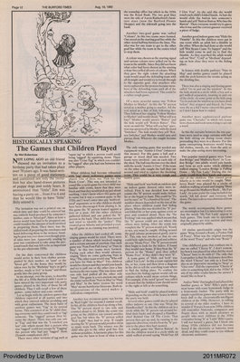The Games That Children Played by Mel Robertson, from The Burford Times