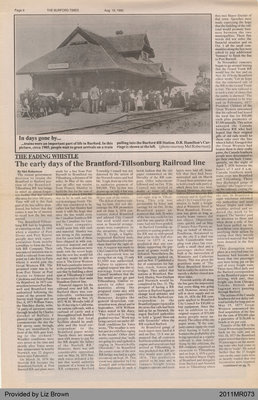 The Early Days of the Brantford-Tillsonburg Railroad Line by Mel Robertson, from the Burford Times