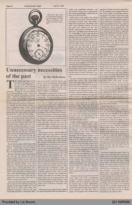 Unnecessary Necessities of the Past by Mel Robertson, from the Burford Times