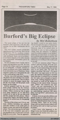 Burford's Big Eclipse by Mel Robertson, from the Burford Times