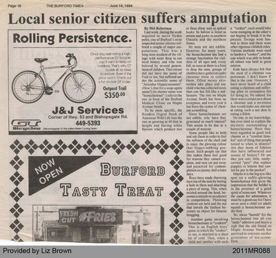 Local Senior Citizen Suffers Amputation by Mel Robertson, from the Burford Times