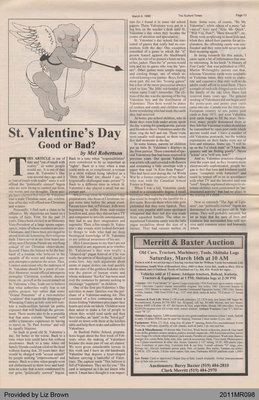 St. Valentine's Day: Good or Bad? by Mel Robertson, from The Burford Times