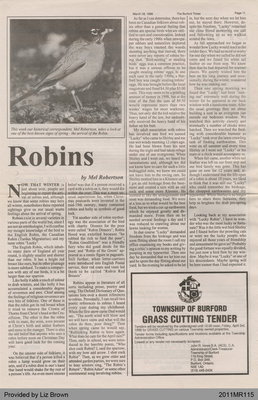 Robins by Mel Robertson, from The Burford Times