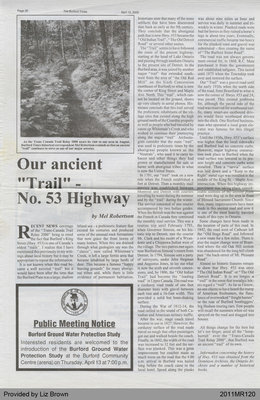 "Our Ancient ""Trail"" - No. 53 Highway by Mel Robertson, from The Burford Times"