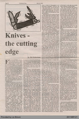 Knives - The Cutting Edge by Mel Robertson, from The Burford Times