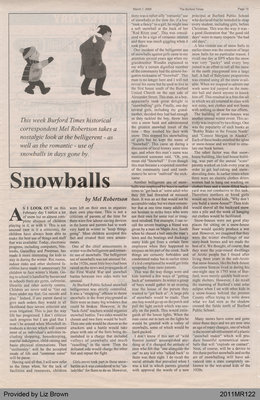 Snowballs by Mel Robertson, from The Burford Times
