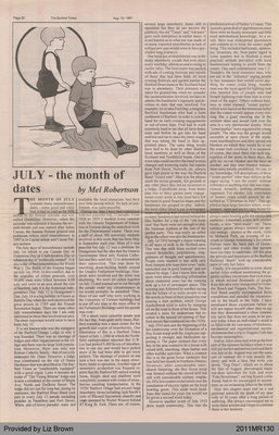 July - the Month of Dates by Mel Robertson, from The Burford Times