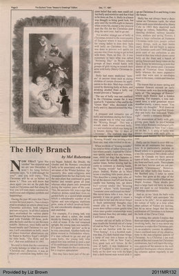 The Holly Branch by Mel Robertson, from The Burford Times