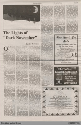 """The Lights of """"Dark November"""" by Mel Robertson, from The Burford Times"""