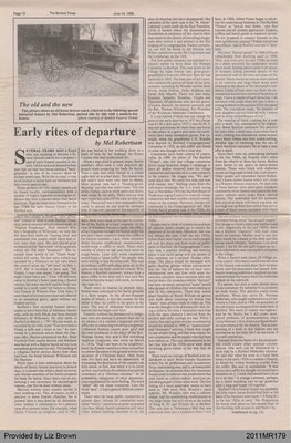 Early Rites of Departure by Mel Robertson, from The Burford Times