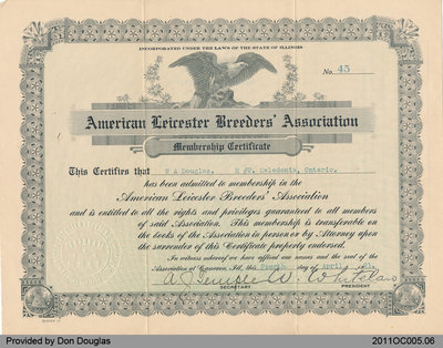 Certificate of Membership to the American Leicester Breeders' Association