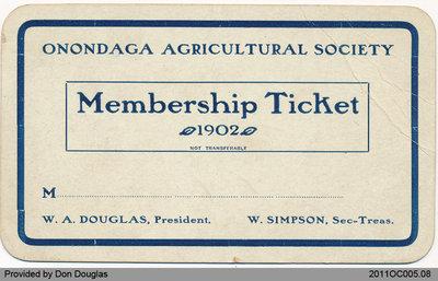 Membership Ticket: Onondaga Agricultural Society