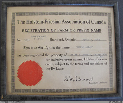 Registration Certificate for Maple Arbor Farm