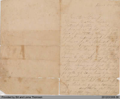 Letter from Alexander Thomson to His Family in Onondaga