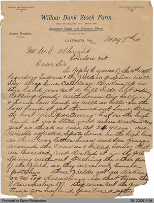 Letter by James Douglas of Onondaga to Mr. W. S. Albright