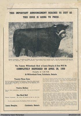 Announcement of Willowbank Herd Sales