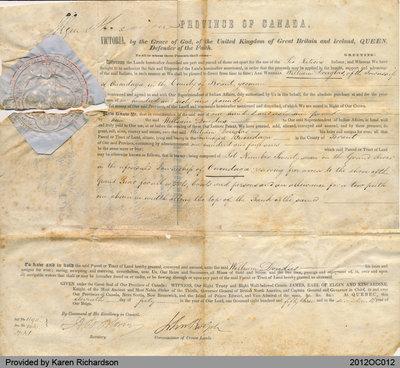 1853 Land Grant to William Douglas